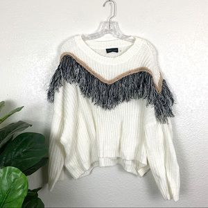 Mustard Seed White Oversized Fringe Sweater Medium